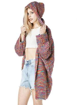 106bb8d8bf42 Gerinate Long Cardigan Hooded Woen Winter Rainbow Sweater Pullover Pull Fee