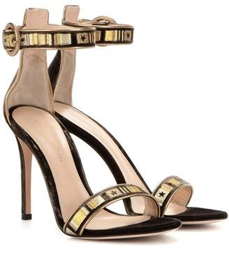 Gianvito Rossi Embroidered velvet sandals