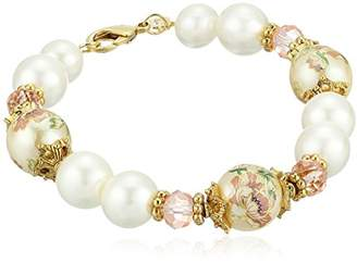 1928 Jewelry Womens Gold Tone Flower Decal Pearl & Pearl Strand Bracelet