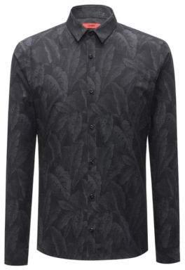 HUGO Boss Slim-fit cotton shirt jacquard banana-leaf pattern M Black