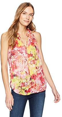 T Tahari Women's Lynna Floral Printed Sleeveless Blouse