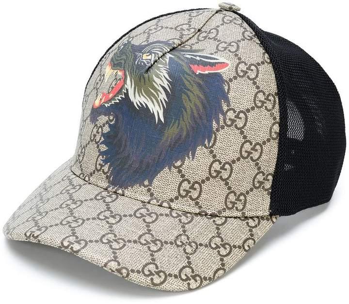 Gucci GG Supreme wolf baseball hat