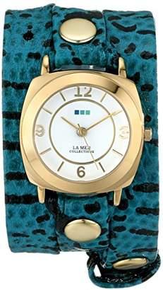 La Mer Women's LMODY4002 Aqua Blue Snake Odyssey Wrap Watch