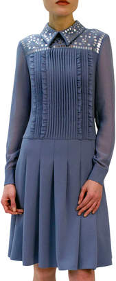 Mikael Aghal Embellished Crepe Pleated Dress w/ Chiffon Sleeves
