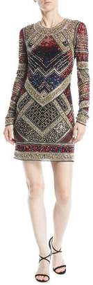 Naeem Khan Jewel-Neck Long-Sleeve Beaded Mini Cocktail Dress