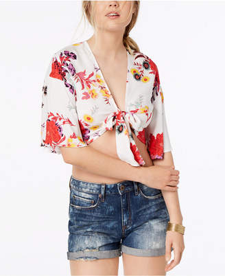 Material Girl Juniors' Printed Tie-Front Crop Top, Created for Macy's