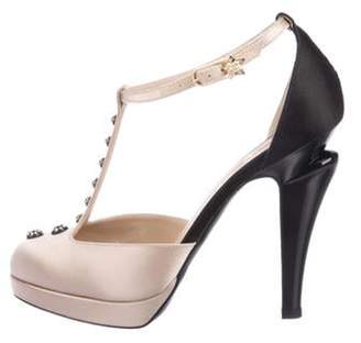Chanel CC Embellished Satin T-Strap Pumps Champagne CC Embellished Satin T-Strap Pumps