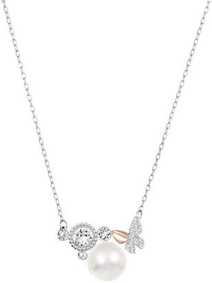 Swarovski Cute Pave Crystal Faux Pearl Pendant Necklace