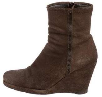 Prada Sport Suede Wedge Ankle Boots