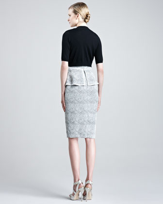 Lela Rose Knit Silk Shrug, Black