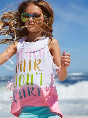 M&Co Beach slogan fringe vest top