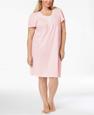 Miss Elaine Plus Size Striped Embroidered Short Nightgown