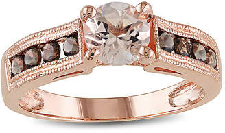 JCPenney FINE JEWELRY Genuine Morganite and Smoky Quartz 14K Rose Gold Over Sterling Silver Ring
