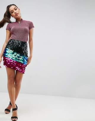 Asos Design Night Embellished Mini Skirt