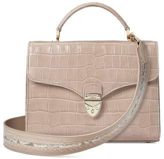 Aspinal of London Mayfair Bag In Deep Shine Soft Taupe Croc With Stripe Strap