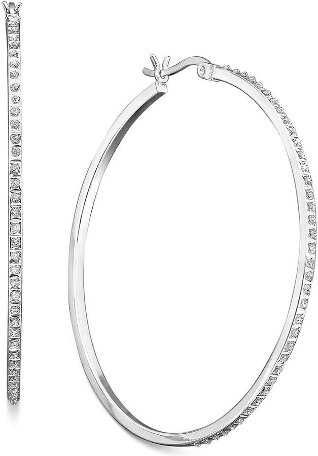 Macy's Sterling Silver Earrings, Diamond Accent Thin Hoops