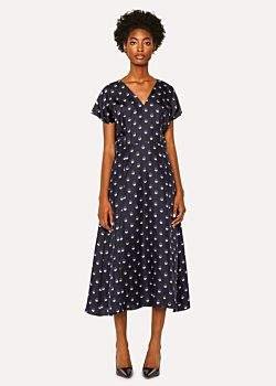 Women's Black V-Neck Silk Dress With 'Eclipse Spot' Print