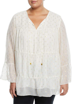 MICHAEL Michael Kors Shirred Bell-Sleeve Peasant Blouse Plus Size