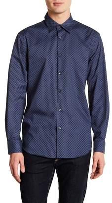 Perry Ellis Pin Dot Slim Fit Long Sleeve Woven Shirt