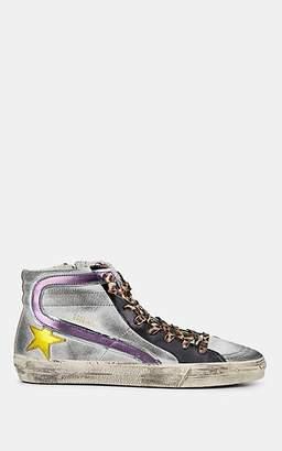 "Golden Goose Women's ""Slide"" Metallic Leather Sneakers - Silver"