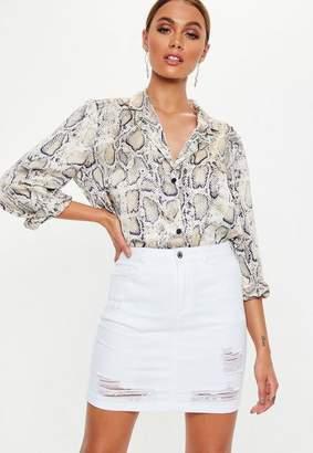 Missguided White Distressed Super Stretch Denim Skirt