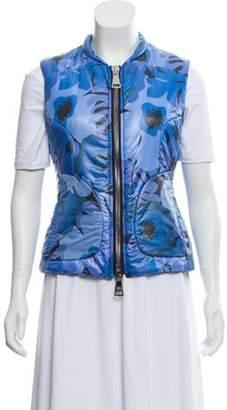 Authier Floral Print Puffer Vest Blue Authier Floral Print Puffer Vest