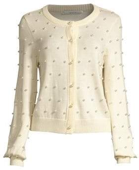 Milly Faux Pearl Wool Cardigan