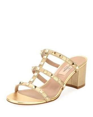 Valentino Rockstud Metallic Mule Sandal