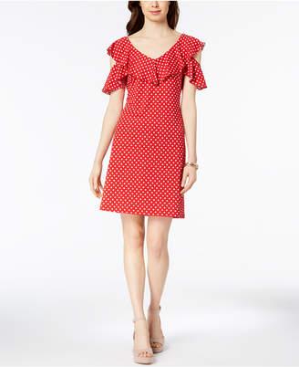 MSK Polka-Dot Cutout Cold-Shoulder Flounce Dress