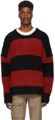 Amiri Black and Red Wool Striped Sweater