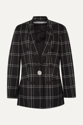 Alexander Wang Leather-trimmed Checked Woven Blazer - Black