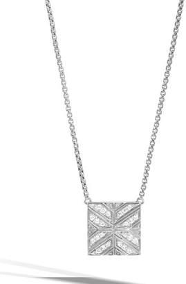 John Hardy Modern Chain Diamond Box Pendant Necklace