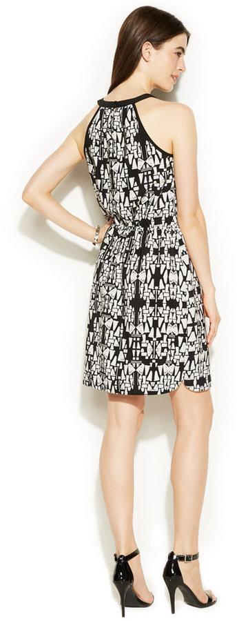 Alfani Graphic-Print Blouson Halter Dress