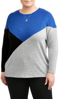 Como Blu Women's Plus Size Colour Block Top