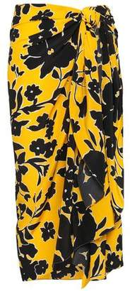 Michael Kors Printed Silk Crepe De Chine Wrap Skirt