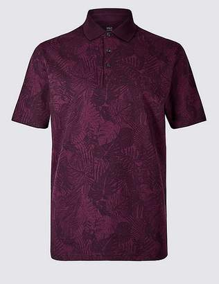 Marks and Spencer Pure Cotton Floral Print Polo Shirt
