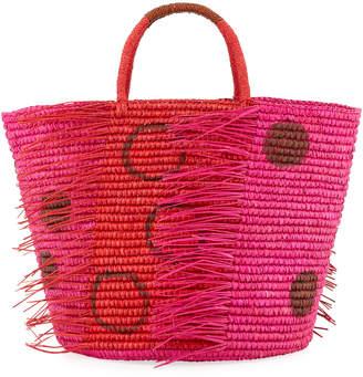 Sensi Studio Medium Frayed Polka Dot Tote Bag