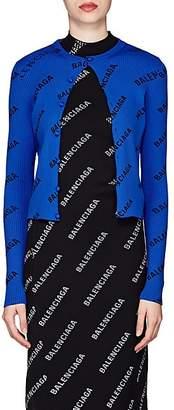 Balenciaga Women's Logo Rib-Knit Cardigan - Blue