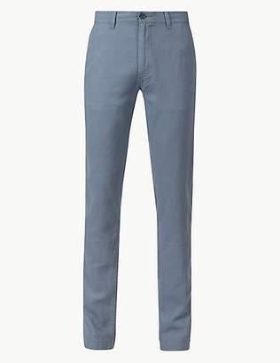 M&S Collection Slim Fit Linen Rich Trousers