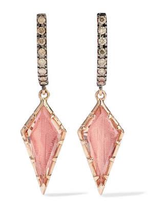 Caprice Larkspur & Hawk Kite 14-karat Rose Gold, Diamond And Quartz Earrings - one size