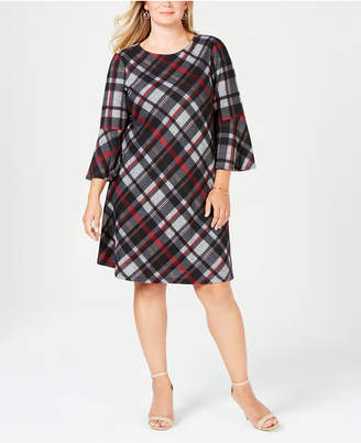 Jessica Howard Plus Size Plaid Bell-Sleeve Dress