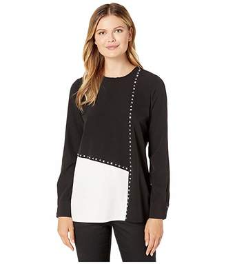 Calvin Klein Long Sleeve Color Block Blouse with Studs
