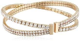 Anne Klein Women's Gold Tone Pearl Coil Pave Cuff Bracelet