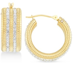 Swarovski Signature Gold Crystal & Diamond Accent Hoop Earrings in 14k Gold Over Resin, Created for Macy's
