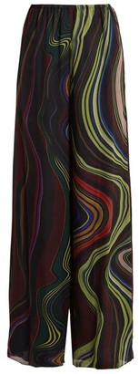 By. Bonnie Young - Asylum Print Wide Leg Silk Chiffon Trousers - Womens - Multi