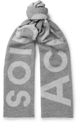 Acne Studios Toronty Oversized Logo-Intarsia Wool-Blend Scarf - Men - Gray