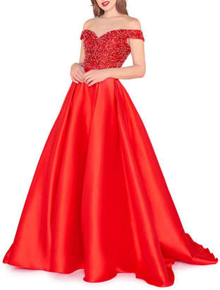Mac Duggal Off-the-Shoulder Beaded Mikado Dress