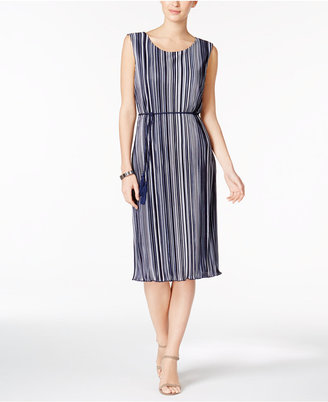 Connected Striped Pleated Belted Dress $69 thestylecure.com