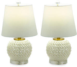 Set Of 2 18.5in Ceramic Table Lamps With Crystal Base