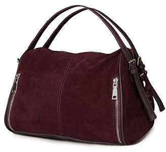 Nico Louise Women Boston bag Soft Suede Shoulder Travel Bag Large Casual Handbag